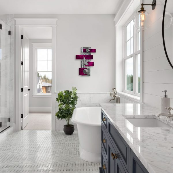 neutral white bathroom scene with candy raspberry geometric contemporary wall decor called strategy