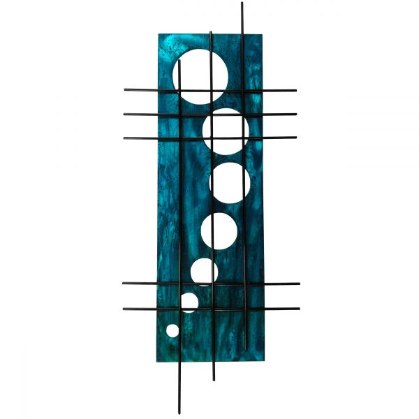 When we turn our candy teal into aged teal home decor, the black metal grid art just pops with color from the bright teal art background