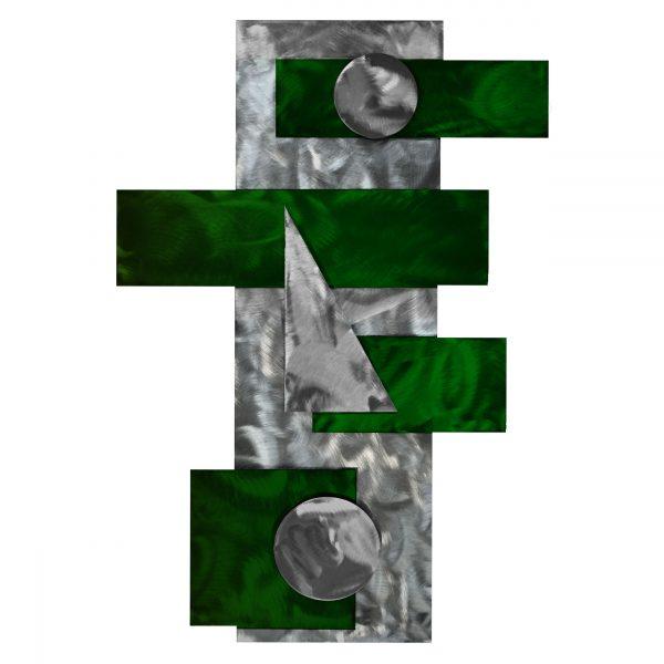 bright green metal wall art geometric shapes strategy