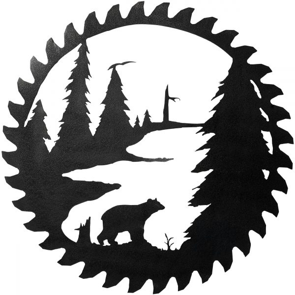 hammered black makes a contemporary finish on the close up of this scene featuring a bear in the Adirondack woods which has been cut into a reproduction of a log sawing buzz blade