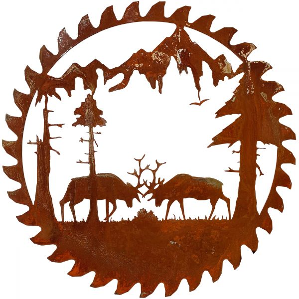 close up of rusted patina finish of scene of elks fighting in a forest