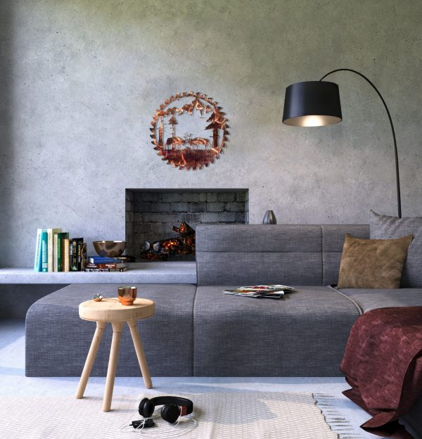 rusted finish of fighting elk scene cut into buzz saw blade in a contemporary styled living room