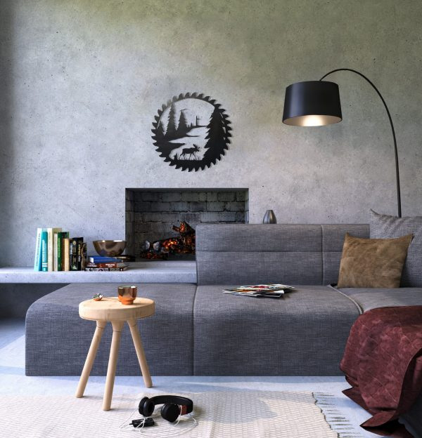 modern cozy family room featuring a moose scene cut into a buzz saw blade with a hammered black finish