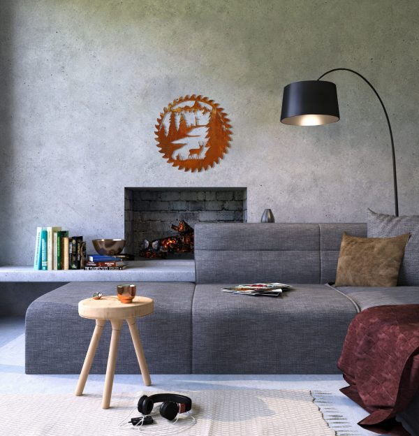 This modern cozy family space features a reproduction buzz saw blade above the tv with a natural rusted patina finish