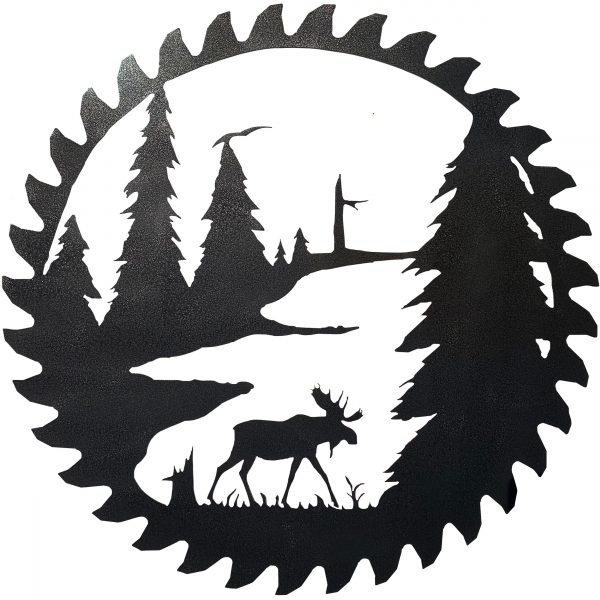 this replicated buzz saw blade has a scene of a mosse, trees and mountains cut into it with a plasma torch