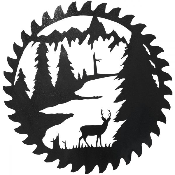 the deer standing among the trees in this reproduction of an authentic buzz saw blade with a hammered black finish