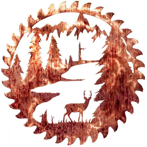 the distressed copper finish on this buzz saw blade really makes the standing deer among the trees look very modern