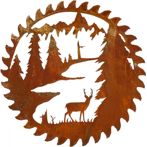 This rust patina buzz saw replica has a scene of a whitetail deer standing among pine trees and a river in the mountins and a rust natural patina finish