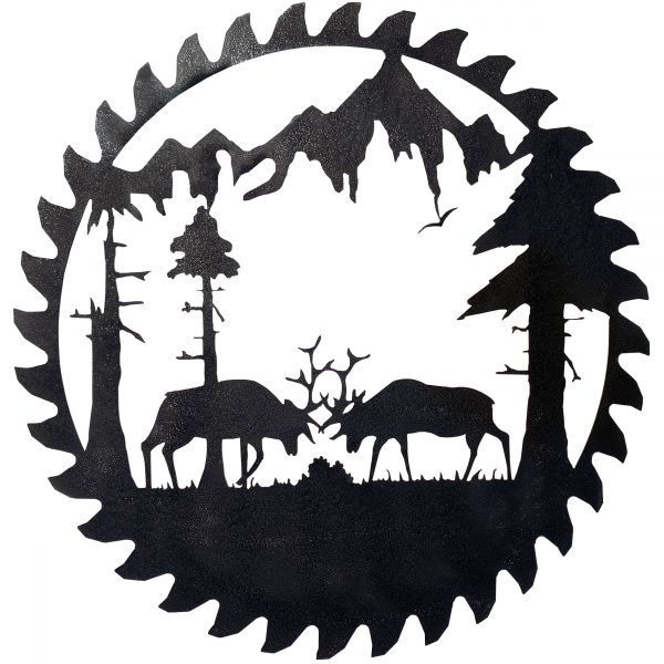 close up of buzz saw blade with a scene of fighting elk in front of mountins
